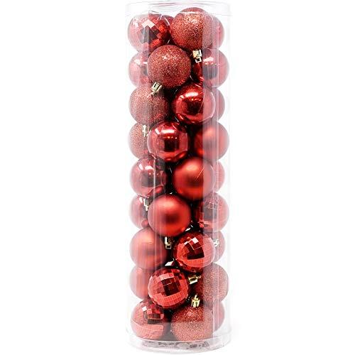 Allgala 36 PK 2 Inch (5CM) Christmas Ornament Balls for Xmas Tree-4 Style-Red
