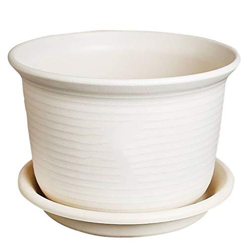 Lrxq eenvoudige rijst-witte bloempot plastic met onderste pot vleesachtige groene ronde bloempot in pot
