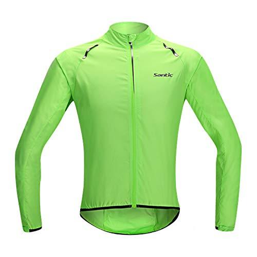 Santic Mens Cycling Jacket Lightweight Bike Jersey Windbreaker for Men Green S