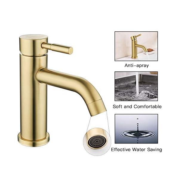 GAPPO Grifo monomando para lavabo con grifo monomando de acero inoxidable sin plomo, color dorado