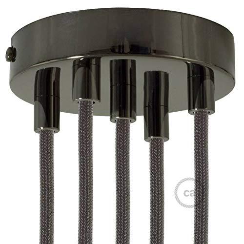 creative cables Zylindrischer 5-Loch-Lampenbaldachin Kit aus Metall - Konisch, Schwarz Perle