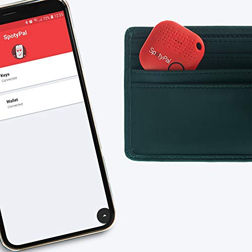 SpotyPal The Original - Upgrade Your Life - Item, Key, Phone Finder, Panic Button, Separation Alert, Replaceable Battery - Red