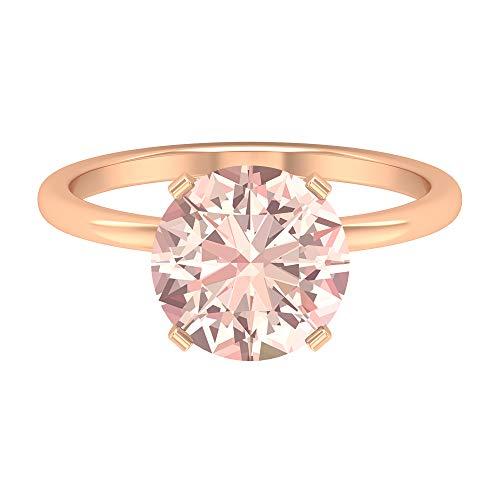 Anillo de compromiso solitario de 9,5 mm creado en laboratorio, anillo de compromiso, anillo de boda de oro macizo, 14K Oro rosa, Size:EU 70