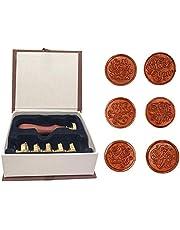 Kit de sello de cera con caja de regalo, 1pcs Retro madera empuñadura + 6pcs intercambiable sello de sellado de cabeza de latón extraíble