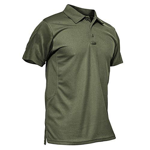 KEFITEVD Polo Décontracté à Séchage Rapide pour Hommes Printemps T-Shirts de Pêche Légers Vert Armée