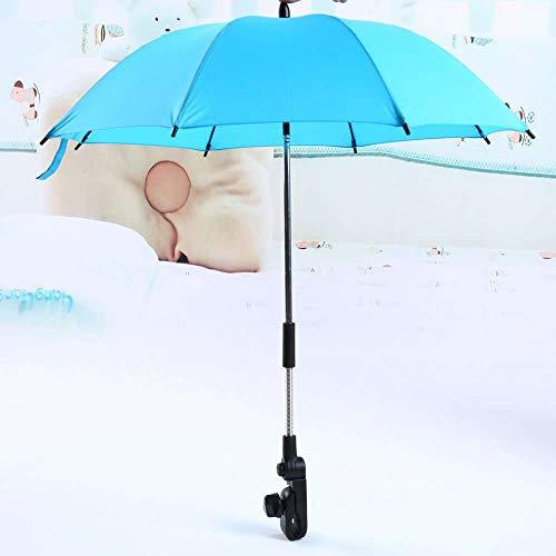 Yuyanshop Yosoo Silla de ruedas Cochecito de bebé paraguas y soporte sombrilla rayos UV lluvia sol toldo (azul)
