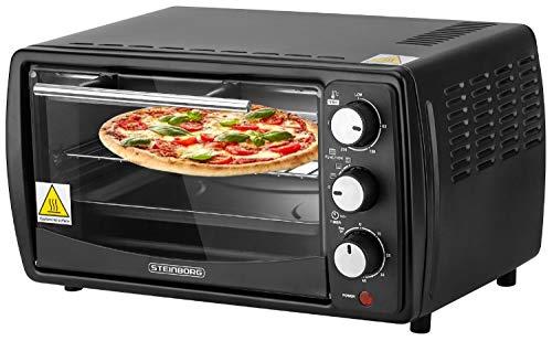 Mini Backofen 13 Liter | Pizzaofen | 60°-250°C | Timer | aufklappbares Krümelblech | Minibackofen | Backofen | Kleiner Backofen | 900 Watt