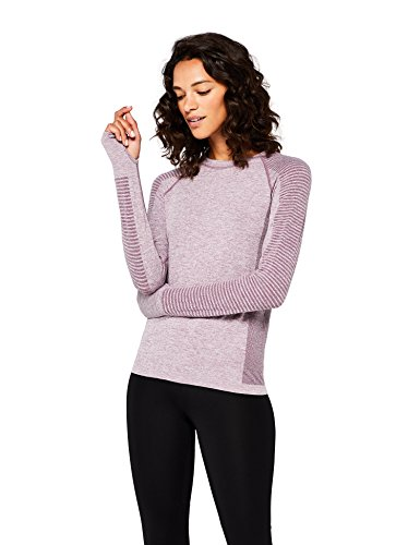 Marca Amazon - AURIQUE Camiseta Deportiva de Manga Larga sin Costuras Mujer, Morado (Purple Gumdrop Marl), 38, Label:S