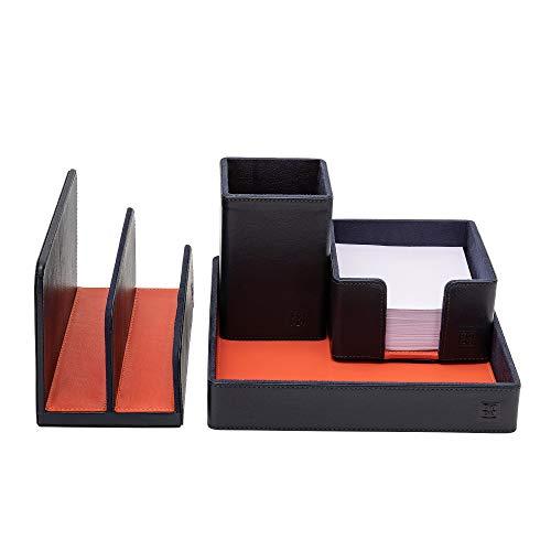 DUDU Schreibtisch-Set aus Leder für das Büro 4-teilig mit Taschenleerer Stifthalter Briefhalter Zettelbox Navy