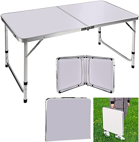 3ft Adjustable Height Folding Table, Aluminium Foldable Portable Camping Picnic Table for Outdoor Indoor Kitchen Garden BBQ Party, Compact Small Save Space Fold Up Home & Office Computer Table