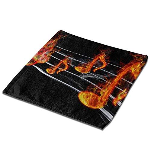 GCDT Toalla cuadrada 3d Burning Music Note Humo Ultra Suave y Altamente Absorbente Toallas de Mano Paños de Plato, Toallitas para el hogar, Hotel Spa Cocina 33 X 33 pulgadas