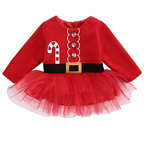 WangsCanis Disfraz de Navidad para niño, niña, vestido de payaso completo de terciopelo suave y cálido, vestido para fiesta de Navidad Año Nuevo 0 – 4 años, Vestido con tutú, 12- 18 meses