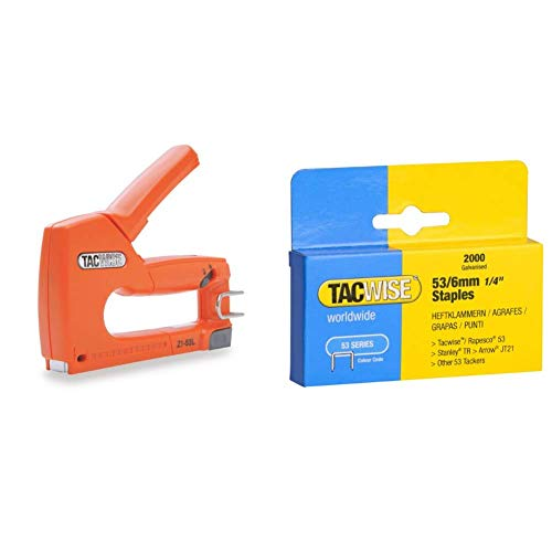 Tacwise Z1-53L – Grapadora manual para grapas de tipo 53 – 4/8mm & Grapas - Caja de 2000 grapas galvanizadas 53/6mm