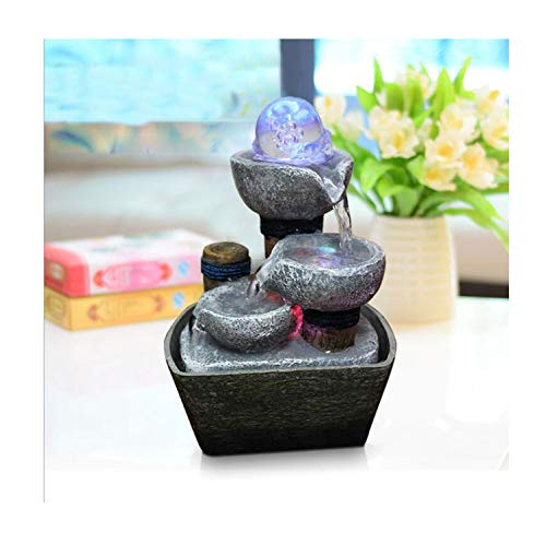 Feng Shui Wheel Indoor Water Fountains Resin Crafts Gifts Desktop Decor Water Fountain for Home Office Teahouse Decoration,B