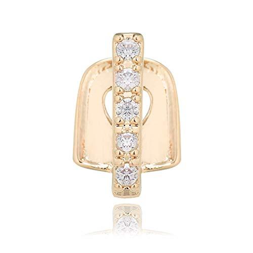 N\ A Einzelne Diamant-besetzte Zahnspangen Hip Hop Gold Bar Zahnspangen Lustige Einzelstreifen-Diamant-Zahnspangen Strass-Zahnspangen Hip Hop Party Schmuck Zahnschmuck 1.1×0.7×0.2cm/Gold