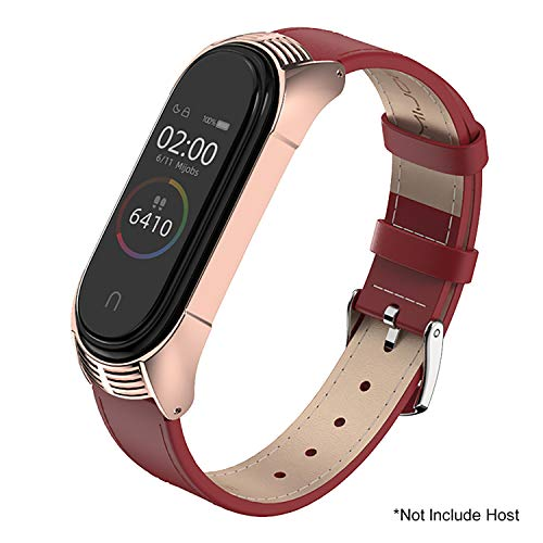 SenMore Compatible Correa Mi Band 3 Mi Band 4 Correas Cuero, Pulsera de Leather Agradable para Mi Band 4 Correa y Mi Band 3 Correa (No Host) (TF Rojo)