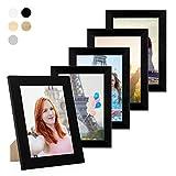 Photolini Lot de 5 Cadres 15x20 cm Collection Basique Moderne Noir en MDF Comprenant Accessoires/Collage de Photos/galerie d'images/Multi Cadre Photo Mural