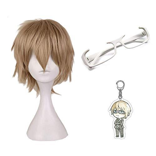 ZSTO Togami Byakuya Wig With Glasses,Game Danganronpa Cosplay Keychain Pendant Props