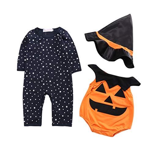 Lee little Angel baby pompoen shirt + hoed driedelige Halloween Performance kostuum (voor 3-18 maanden)