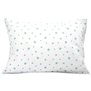 Kids Toddler Pillowcase 13×18 by Comfy Turtles, 100% Cotton, Soft Hypoallergenic Cover for Wonderful Sleep and Dreams, Design for Boys and Girls (Green Stars On White)