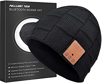 Upgraded Bluetooth Beanie Hat Headphones Wireless Headset Winter Music Speaker Hat Knit Running Cap with Stereo Speakers & Mic Unique Christmas Tech Gifts for Women Mom Her Men Teens Boys Girls from FULLLIGHT TECH