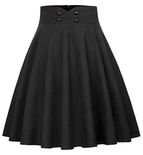 Belle Poque 50s Rock Vintag Retro Rock a Linie Knielang Rock elegant, Bp560-1(schwarz), XL