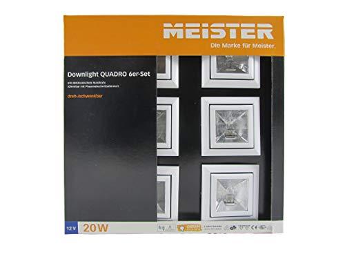 MEISTER Downlight Quadro 12Volt 20Watt 6er Set, Weiß