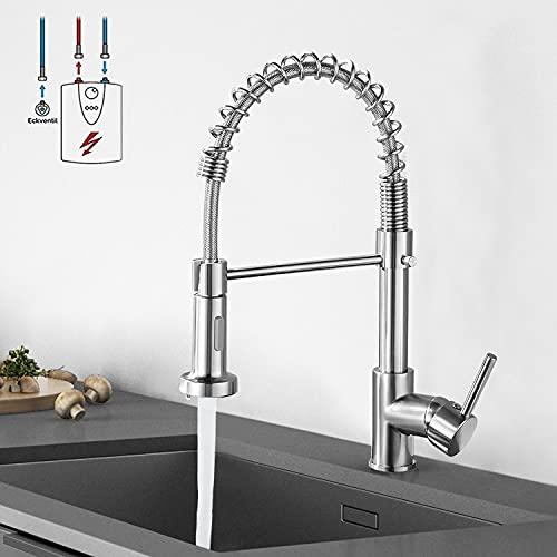 Niederdruck Wasserhahn küche, JTWEB Niederdruck Küchenarmatur Einhandmischer Armatur mit Brause 360° Schwenkbar Mischbatterie Spültischarmatur Spiralfederarmatur (Silber)
