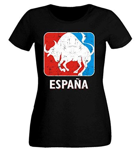 aprom SC ESP 9 Toro Espana Sport Soccer - Camiseta para Mujer Negro XL