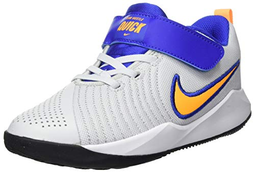 Nike Team Hustle Quick 2 (PS) Basketball Shoe, Pure Platinum/Laser Orange-Hyper Royal-Black, 28.5 EU