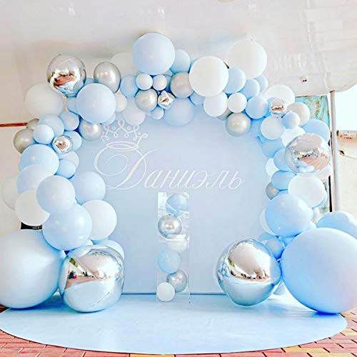 141 Pcs Blue Silver Balloon Garland Kit Macaron Metal Balloon Arch,Wedding Bridal Shower Birthday Party Baby Shower Decoration By Patimate