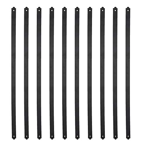 Myard 32-1/4 Inches Heavy Duty Flat Straight Iron Deck Balusters with Screws for Wood Composite Facemount Deck Railing (50-Pack, Matte Black)