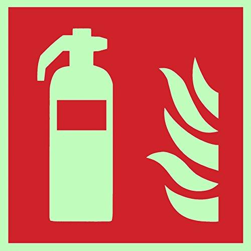 Brandschutzzeichen Symbolschild Feuerlöscher ISO Kunststoffplatte nachleuchtend &. selbstklebend 150x150mm