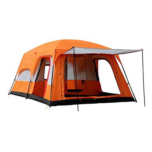 Tenda da Campeggio Due Camere da Letto E Una Sala Doppio Strato Gita in Famiglia Tenda per Spiaggia e Campeggio,Arancia,Small