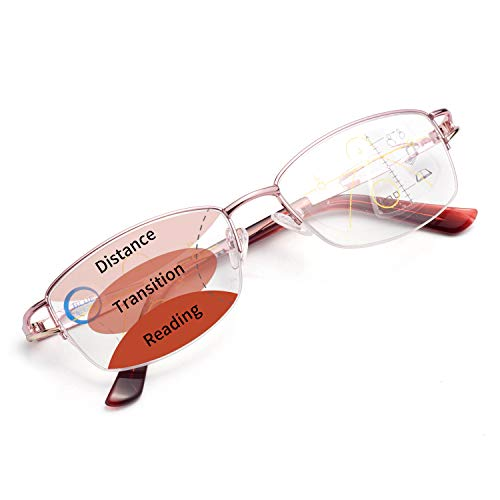 LianSan 累進多焦点遠近両用老眼鏡(境目のない遠近両用メガネ)ブルーライトカット UVカット シニアグラス おしゃれ コンパクト パソコン・スマホ用 ケース めがね拭き付き レディース 眼鏡LS34100PK100