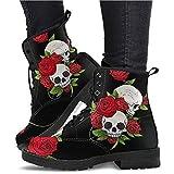 Zapatos Mujer Botines - Moda Mujer Zapatos Retro Piel Botas Calavera - para Todas Las Estaciones (Color : Black, Size : 42)