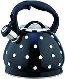 YUXO Tetera induccion,Camping CoffeeTea Hervidor 3 Cuartos Silbato Estufa Polka Dot Tetera Diseño de Apertura y Cierre de un botón Silbante Hervidor de Acero con Asa (Color:Black;Size:3L)