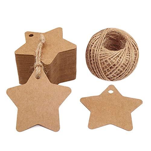 Weihnachten Etiketten Tags Geschenk Anhänger,100 Stück kraftpapier Hängeetiketten 6 CM * 6 CM mit 30 Meter Jute-Schnur für Weihnachtsgeschenke, Marmeladen etc