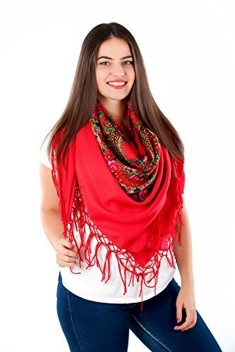 Große Stilvolles Schal-Tuch mit schönem,slawische Folklore Muster Winter 2016 Rot