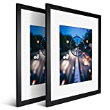 iDecorlife Newly Upgraded 16x20 Black Picture Frames 2PCs - Extra - Thick Tempered Glass and Real Wood 11x14 Picture Frame with Mat or 16x20 Frame Without Mat - Wall Mounting Ready Real Wood Photo Frame