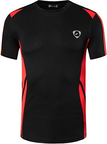 jeansian Men's Sport Quick Dry Short Sleeves T-Shirt LSL148 Black XL