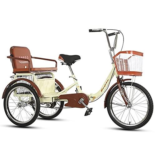 SN Triciclo para Adultos Bicicleta 3 Ruedas 20 Pulgadas Crucero Carga 1 Velocidad con Cesta para Comprar O Bolsa A Prueba Polvo para Perros para Hombres Mujeres Ciudad Calle (Color : Beige)