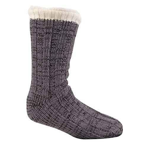 Pierre Roche Hombre Punto Grueso Completamente Forro Polar Pantuflas/Calcetines con pinza de Suelas - Gris, One Size