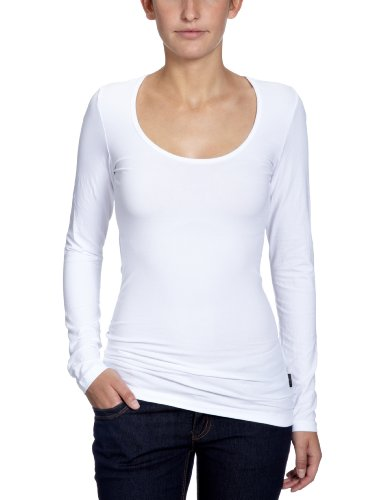 ONLY Damen Langarmshirt, 15060054 Live Love O-Neck, Gr. 40 (L), Weiß (White)