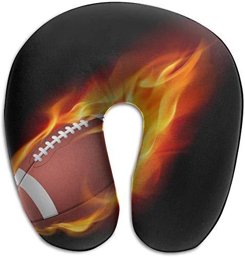 tyui7 Fire American Football U-förmiges Kissen Memory Foam-Nackenkissen für Reisen und Linderung von Nackenschmerzen Bequeme, superweiche Zervixkissen