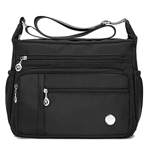 SYYHOME Bolso bandolera de nailon para mujer, con múltiples bolsillos, bolsa de mensajero impermeable, negro (Negro), Small