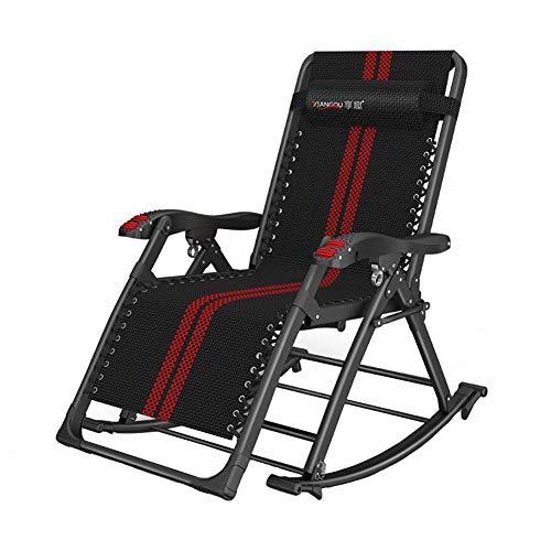 DALL Tuin schommelstoel Opvouwbare ligstoel Outdoor Verstelbare Sun Lounger Rocker Hoofdsteun