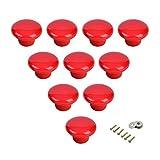Rond en céramique Cabinet Poignées Boutons de porte tiroir rond pour chambre d'enfant Chambre à coucher Porte Placard Armoire Pulls-10Lot, rouge