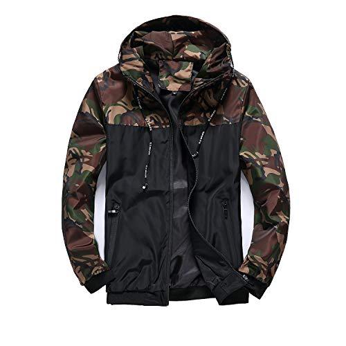 Giacca a vento da uomo con cappuccio leggero antivento ad asciugatura rapida cerniera mimetica giacca a vento