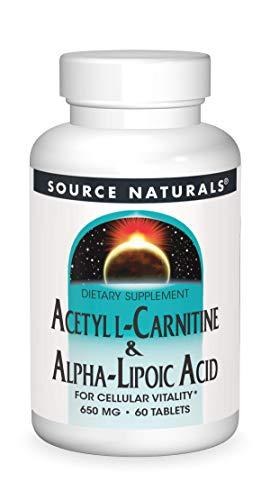 Source Naturals, Acétyle L-carnitine et Acide alpha-lipoïque (Acetyl L-Carnitine & Alpha Lipoic Acid), 650 mg, 60 Comprimés, sans gluten, sans soja